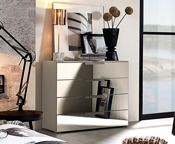 Rauch Miramar 4 Mirror Drawer Chest in Silk Grey - W 80cm