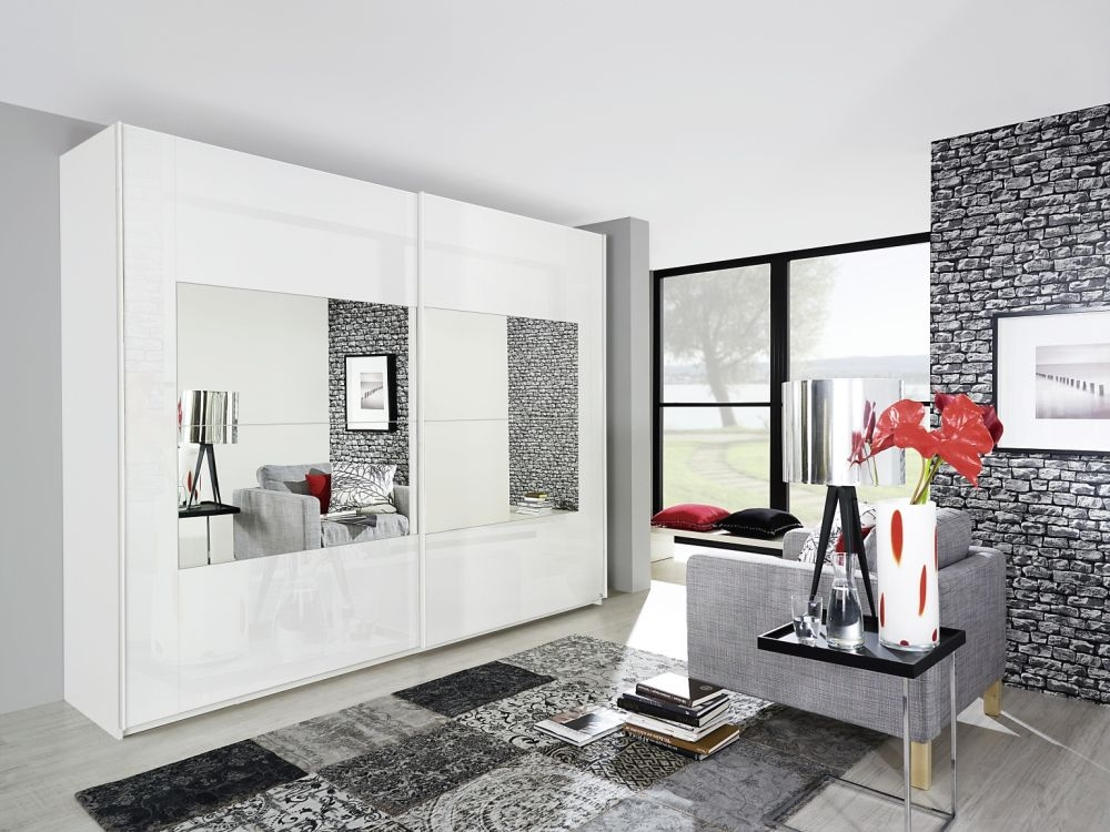 Rauch Miramar 2 Mirror Door Sliding Wardrobe in Alpine White - W 181cm