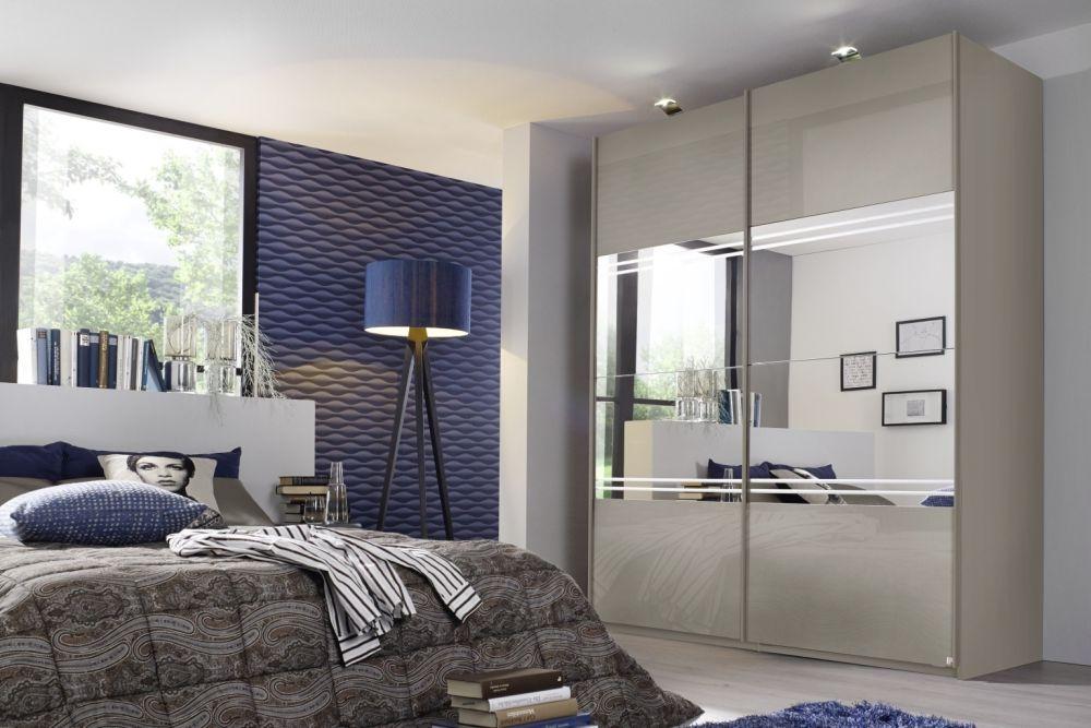 Rauch Miramar Fango 2 Door Sliding Wardrobe with Glass Front and Mirror with Glitter Stripe - W 270cm