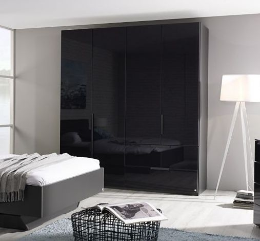 Rauch Miramar Graphite 2 Door 2 Drawer Combi Wardrobe with Glass Front - W 101cm
