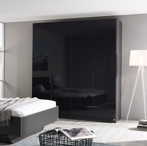 Rauch Miramar Graphite 3 Door 2 Drawer Combi Wardrobe with Glass Front - W 151cm