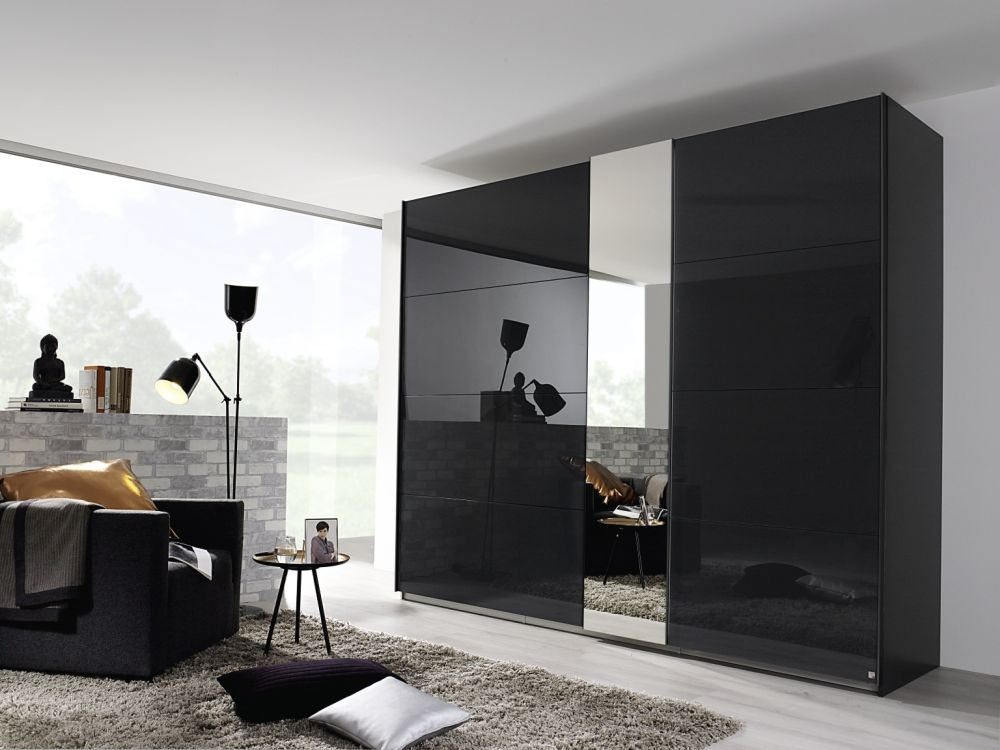 Rauch Miramar 2 Door Glass 1 Mirror Sliding Wardrobe in Graphite - W 225cm