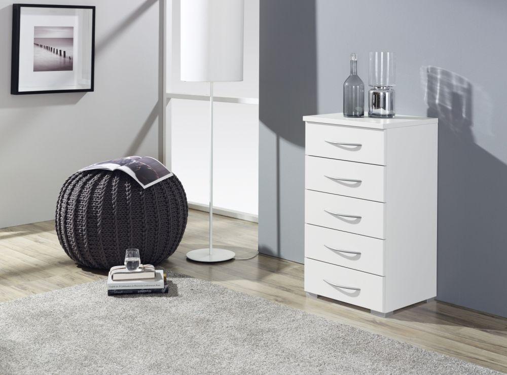Rauch Molmo Alpine White Bedside Cabinet - 4 Drawer