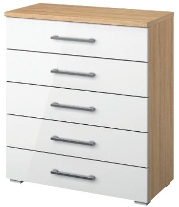 Rauch Molmo 5 Drawer Chest in Natural Beech and High Gloss White - W 48cm