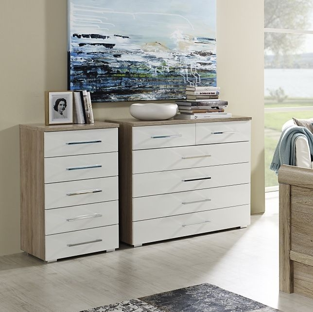 Rauch Molmo 5 Drawer Chest in Sanremo Oak Light and High Gloss White - W 48cm