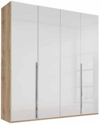Rauch Montclar 4 Door Wardrobe in Sanremo Oak light and High Polish White - W 201cm