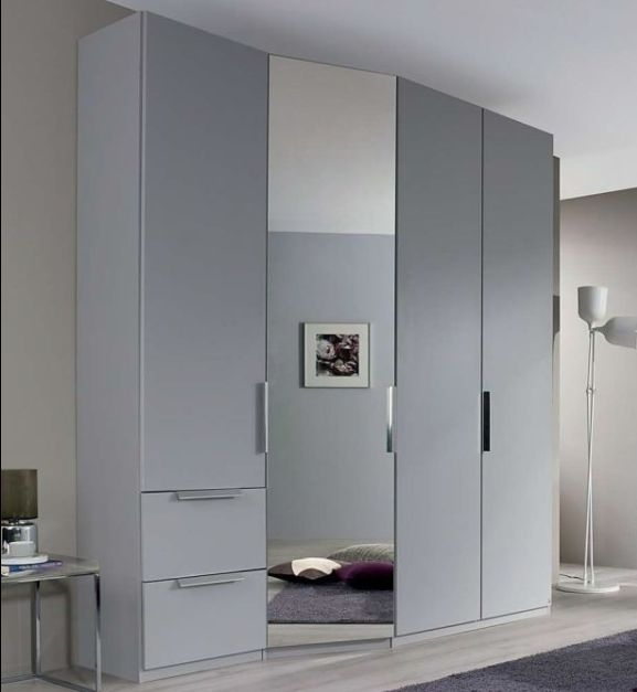 Rauch Mayano 5 Door 2 Left Drawer 1 Mirror Combi Wardrobe in Silk Grey - W 247cm
