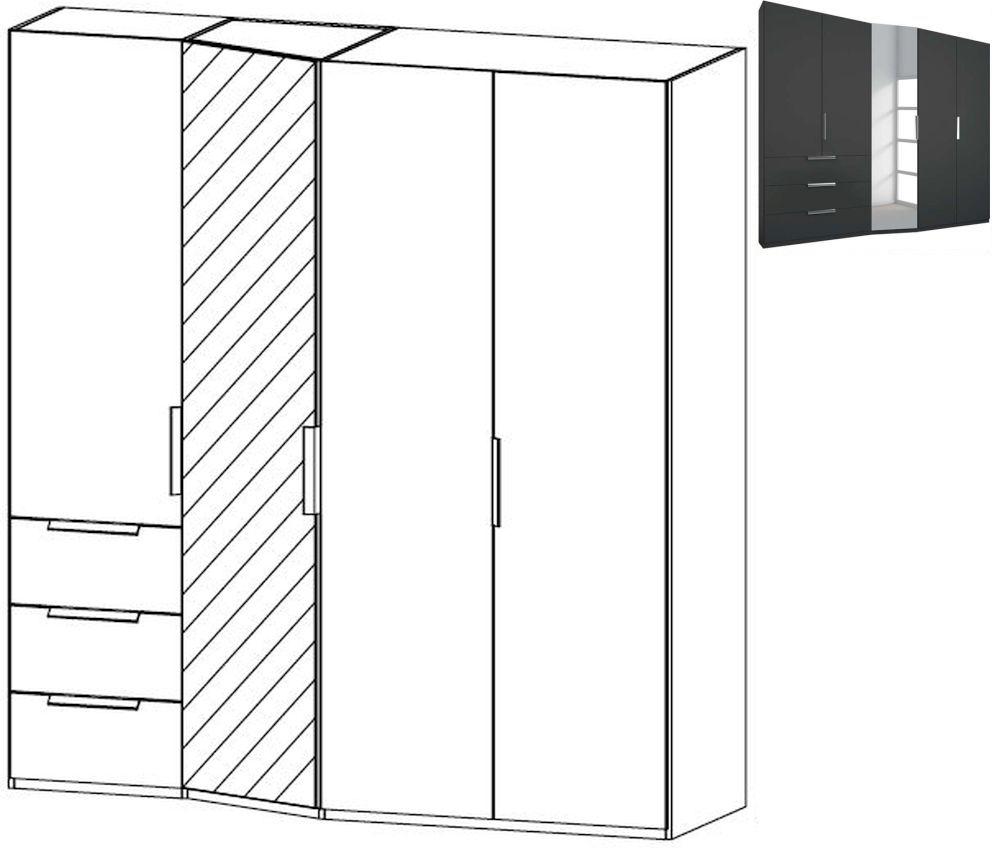 Rauch Moyano 4 Door 1 Left Mirror 3 Drawer Combi Wardrobe in Graphite - W 197cm