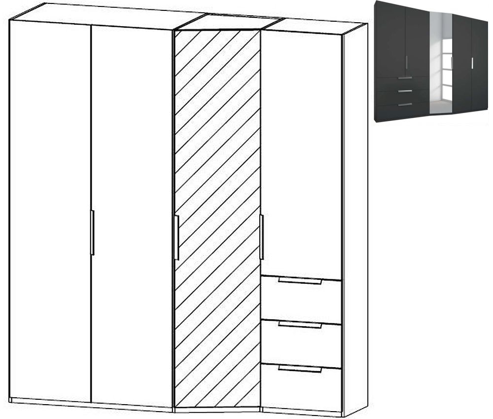 Rauch Moyano 4 Door 1 Right Mirror 3 Drawer Combi Wardrobe in Graphite - W 197cm
