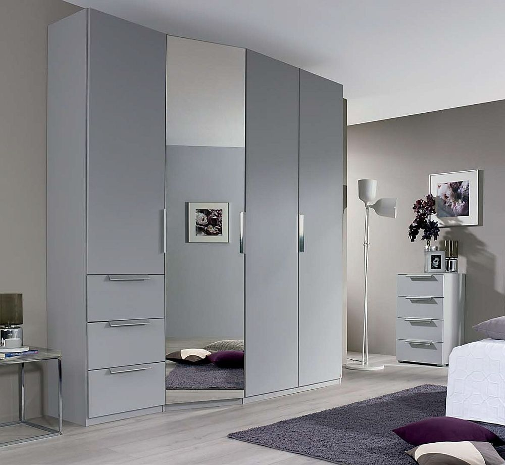 Rauch Moyano 4 Door Combi Wardrobe in Silk Grey - W 197cm - LHD
