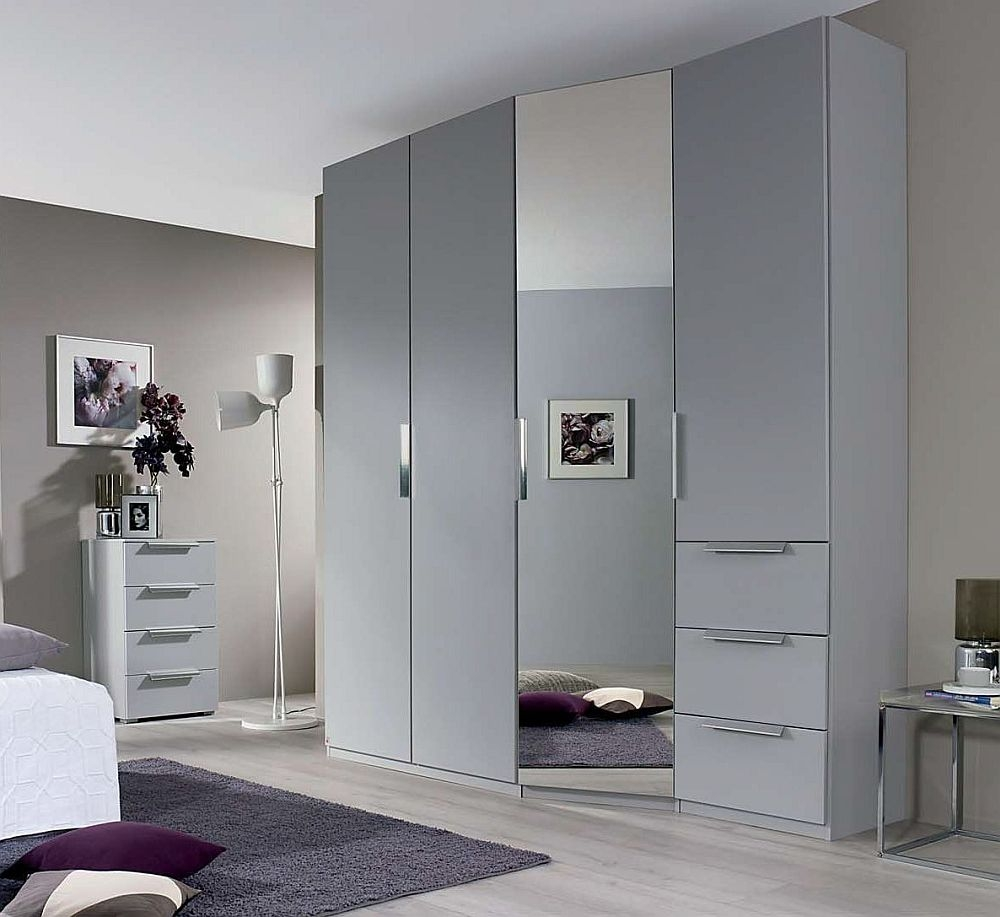 Rauch Moyano 4 Door Combi Wardrobe in Silk Grey - W 197cm - RHD