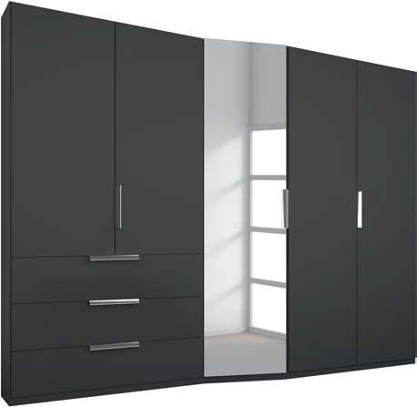 Rauch Moyano 5 Door 1 Left Mirror 3 Drawer Combi Wardrobe in Graphite - W 247cm