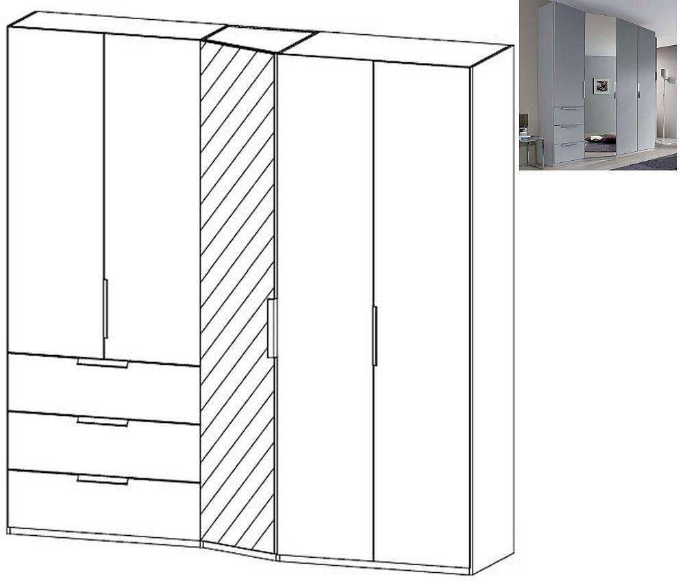 Rauch Moyano 5 Door 1 Left Mirror 3 Drawer Combi Wardrobe in Silk Grey - W 247cm