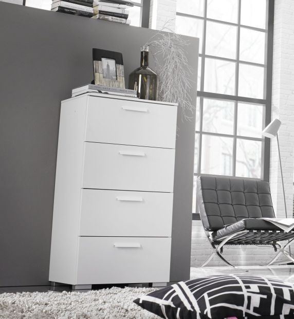 Rauch Myloft 6 Drawer Aluminium Feet Chest in Alpine White