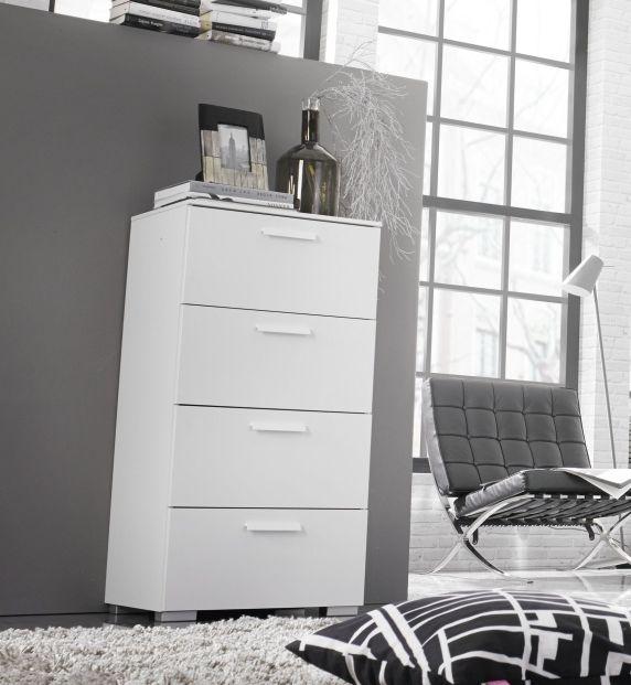 Rauch Myloft 1 Door 5 Drawer Aluminium Feet Combi Chest in Alpine White