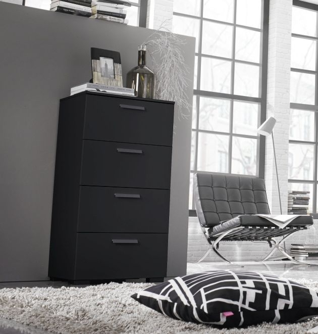 Rauch Myloft Black Bedside Cabinet with Black Foot - 2 Drawer