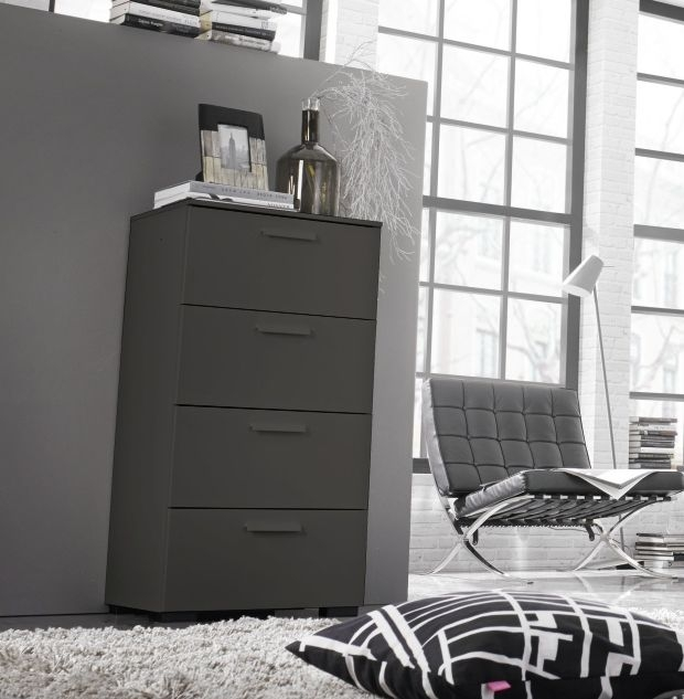 Rauch Myloft Graphite Bedside Cabinet with Aluminium Foot - 2 Drawer