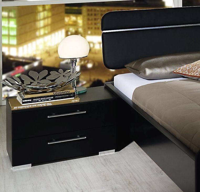 Rauch Nala Black Bedside Cabinet - 2 Drawer - W 55cm