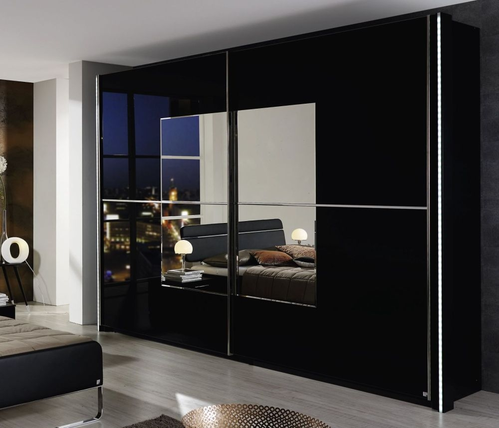 Rauch Nala Black with Black Glass Front 2 Door Sliding Wardrobe with Mirror Application - W 181cm