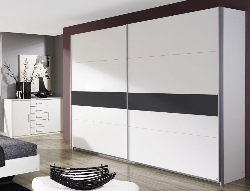 Rauch Narbonne Alpine White with Basalt Glass Overlay 2 Door Sliding Wardrobe - W 181cm