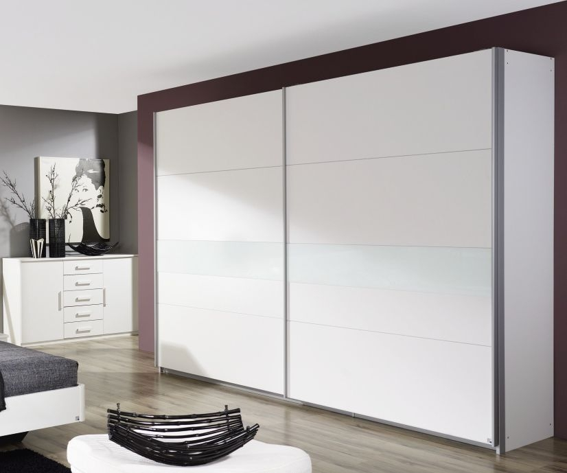 Rauch Narbonne Alpine White with White Glass Overlay 2 Door Sliding Wardrobe - W 181cm