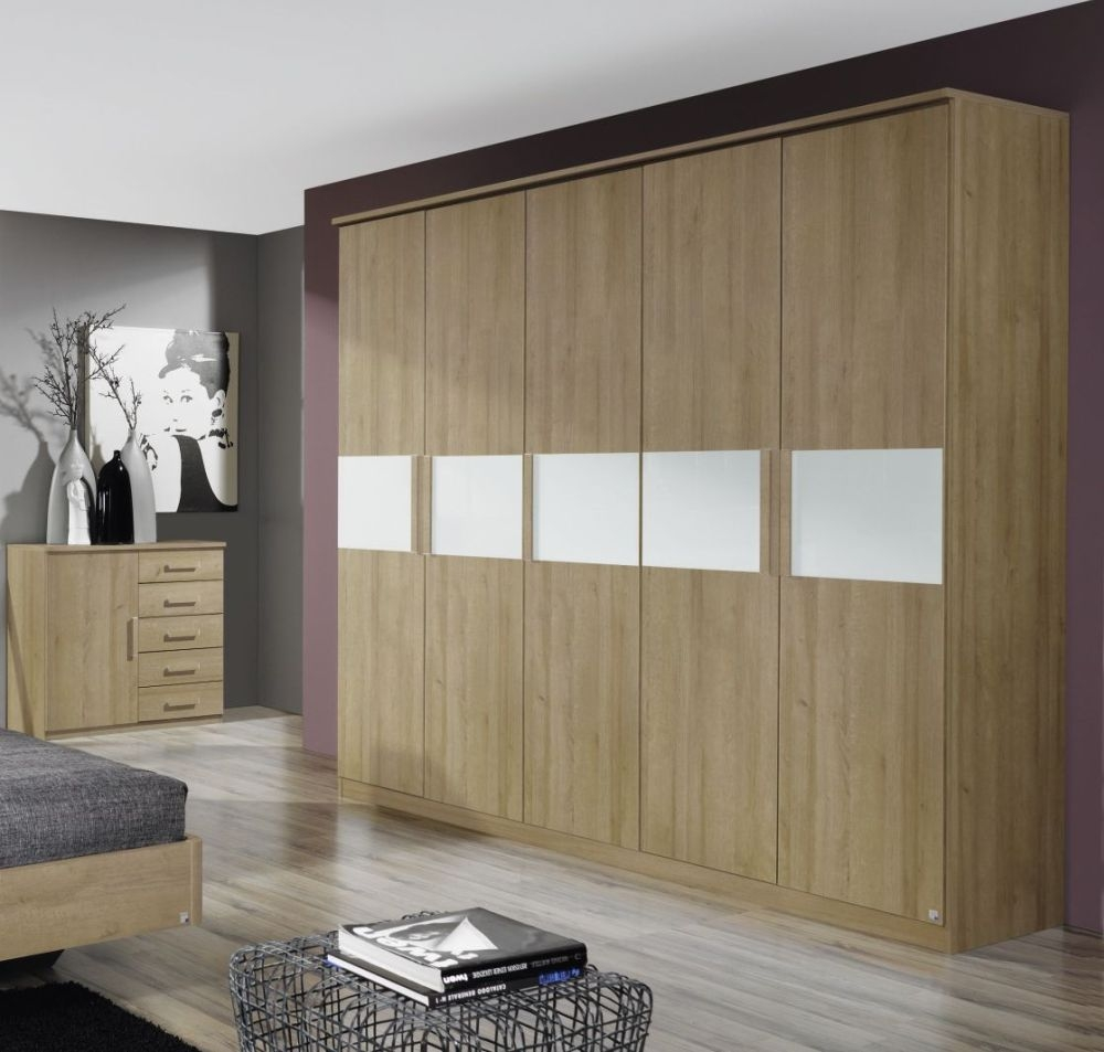 Rauch Narbonne Riviera Oak with White Glass Overlay 5 Door Wardrobe with Cornice - W 226cm