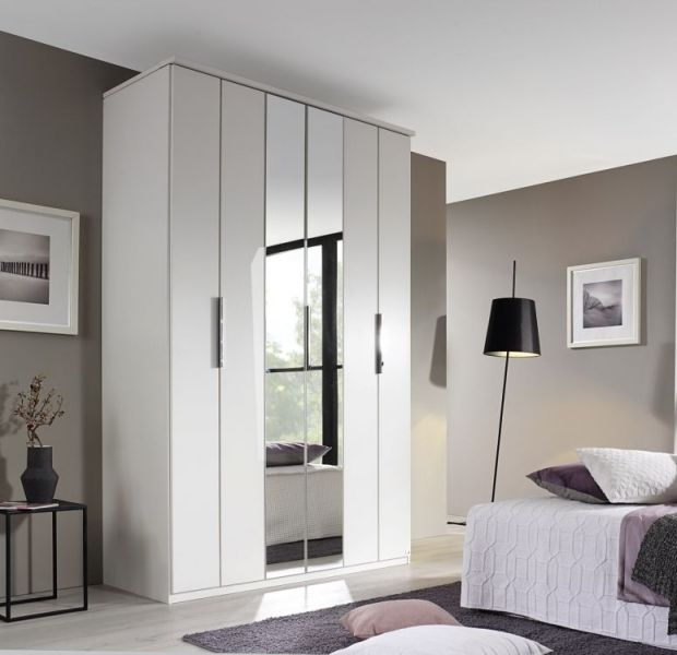 Rauch Nemuro Alpine White 5 Door 1 Mirror Folding Wardrobe with Cornice - W 225cm