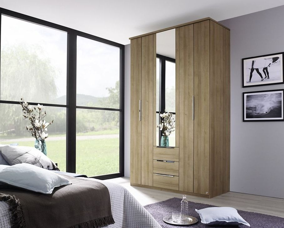 Rauch Nemuro Riviera Oak 4 Door 3 Drawer Combi Folding Wardrobe with 2 Mirror and Cornice - W 181cm