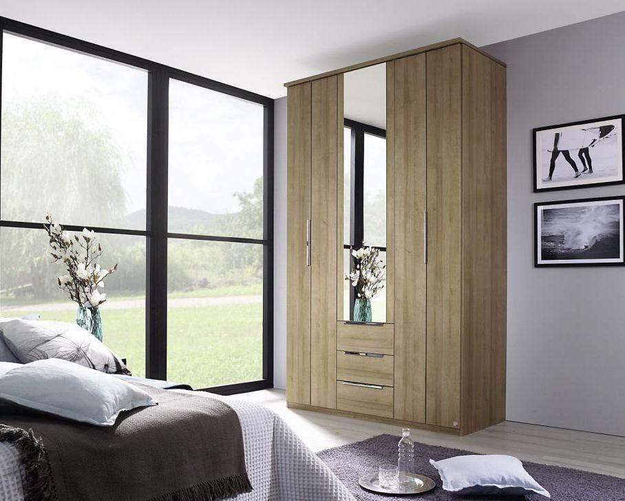 Rauch Nemuro Riviera Oak 5 Door 3 Drawer Combi Folding Wardrobe with 1 Mirror and Cornice - W 225cm
