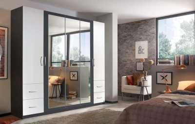 Rauch Neustadt Extra 5 Door Combi Wardrobe in Black and White - W 231cm