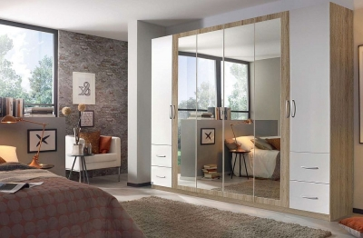 Rauch Neustadt Extra 6 Door Combi Wardrobe in Oak and White - W 275cm