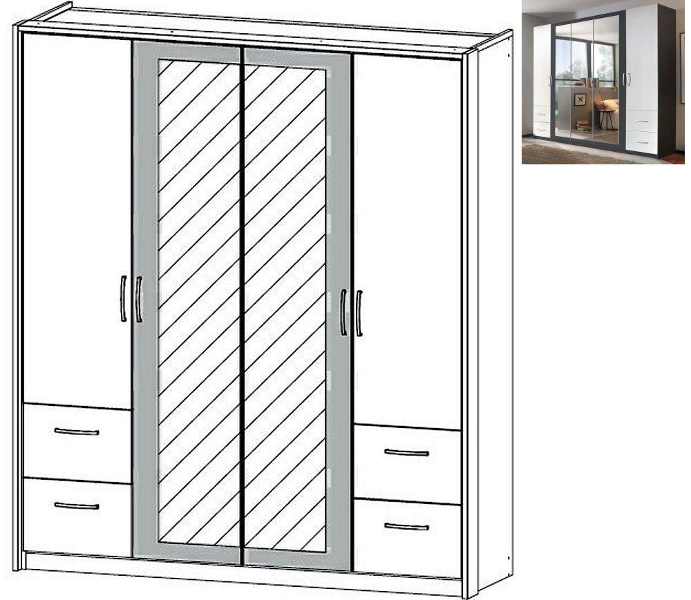Rauch Neustadt Extra 4 Door 2 Mirror 4 Drawer Combi Wardrobe in Metallic Grey and Alpine White with Passepartout - W 185cm