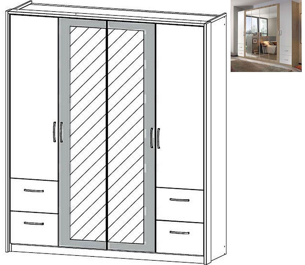 Rauch Neustadt Extra 4 Door 2 Mirror 4 Drawer Combi Wardrobe in Sonoma Oak and Alpine White with Lighting Passepartout - W 185cm