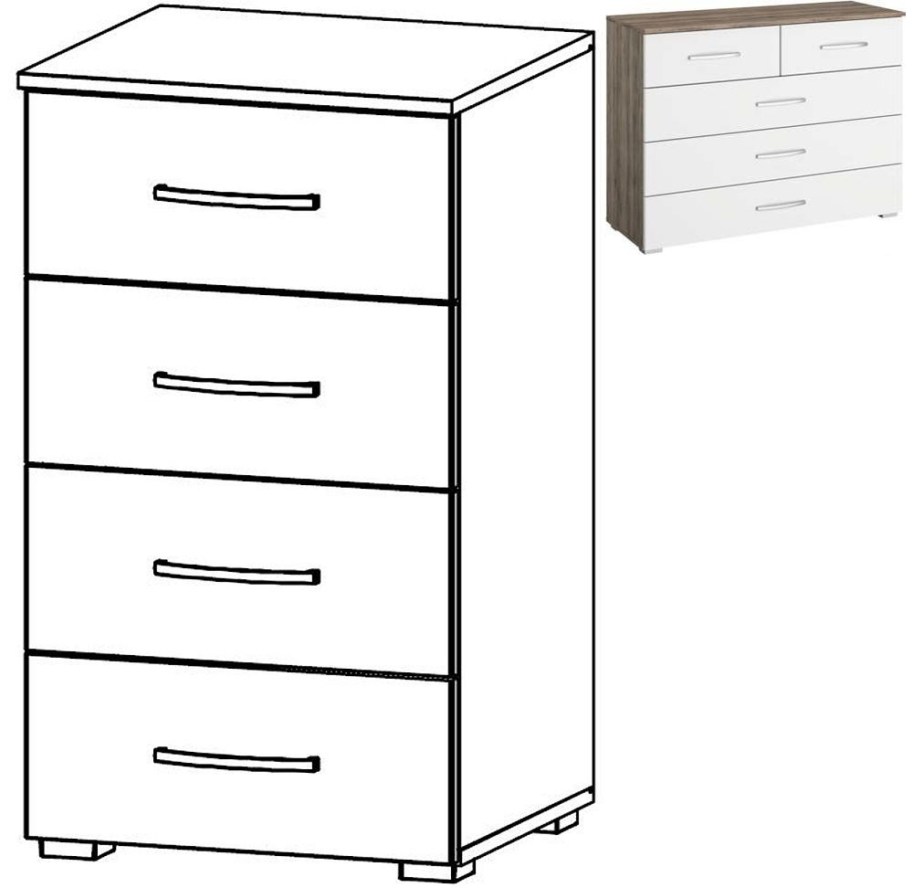 Rauch Neustadt Extra 4 Drawer Chest in Stirling Oak and Alpine White - W 47cm