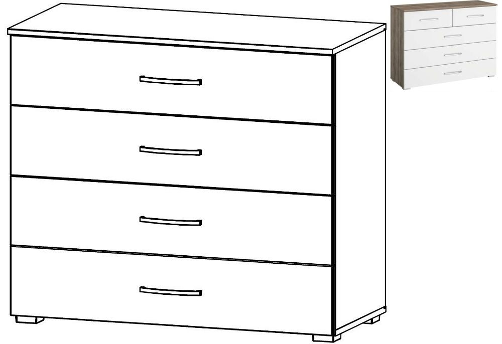 Rauch Neustadt Extra 4 Drawer Chest in Stirling Oak and Alpine White - W 93cm