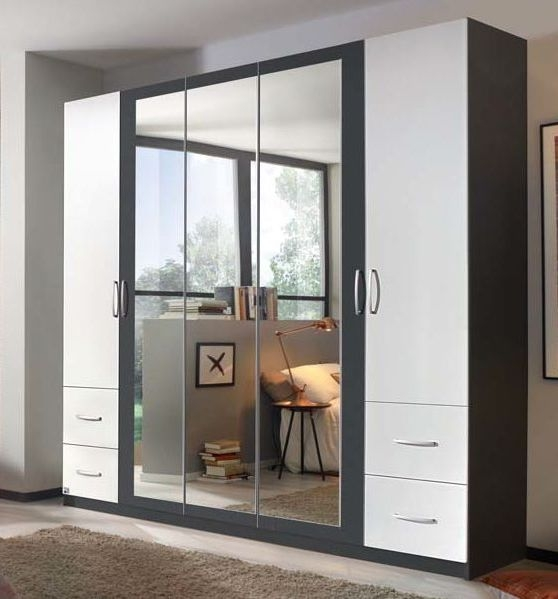 Rauch Neustadt Extra 5 Door 3 Mirror 4 Drawer Combi Wardrobe in Metallic Grey and Alpine White with Lighting Passepartout - W 231cm