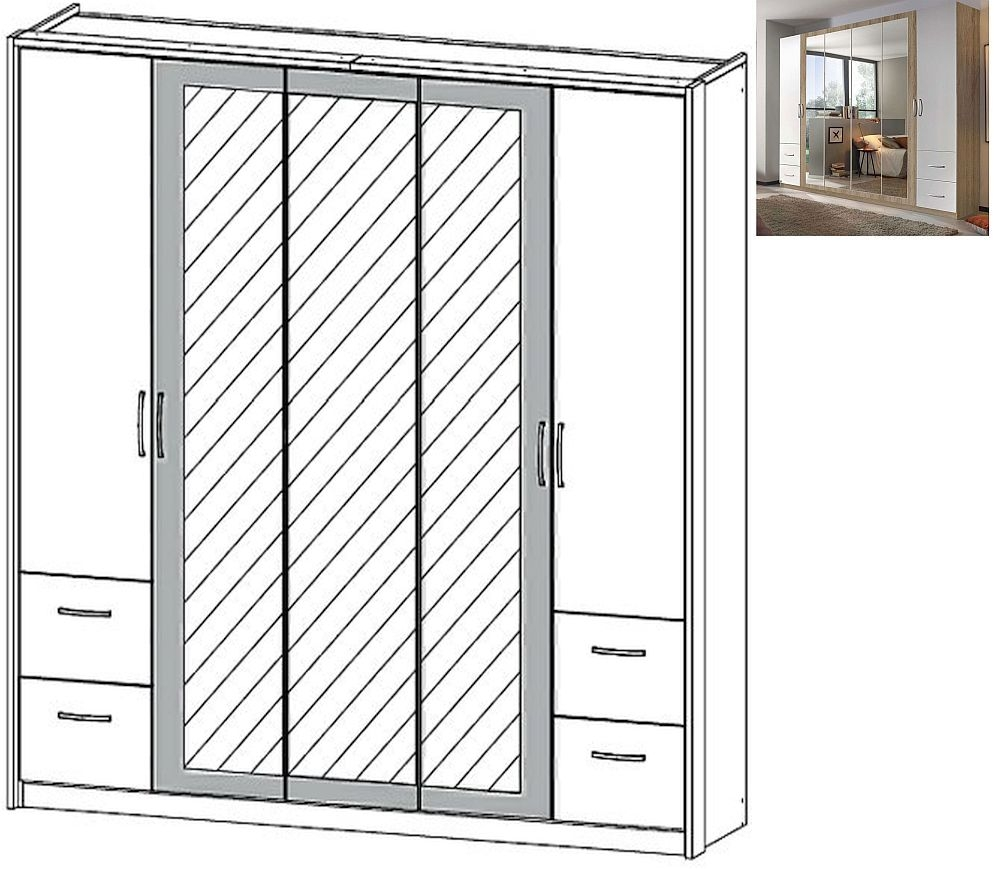 Rauch Neustadt Extra 5 Door 3 Mirror 4 Drawer Combi Wardrobe in Sonoma Oak and Alpine White with Lighting Passepartout - W 231cm