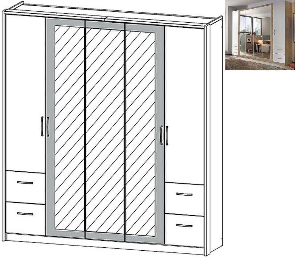 Rauch Neustadt Extra 5 Door 3 Mirror 4 Drawer Combi Wardrobe in Sonoma Oak and Alpine White with Passepartout - W 231cm