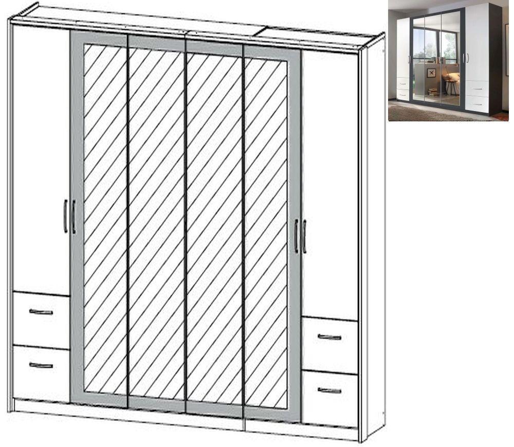 Rauch Neustadt Extra 6 Door 4 Mirror 4 Drawer Combi Wardrobe in Metallic Grey and Alpine White with Passepartout - W 275cm