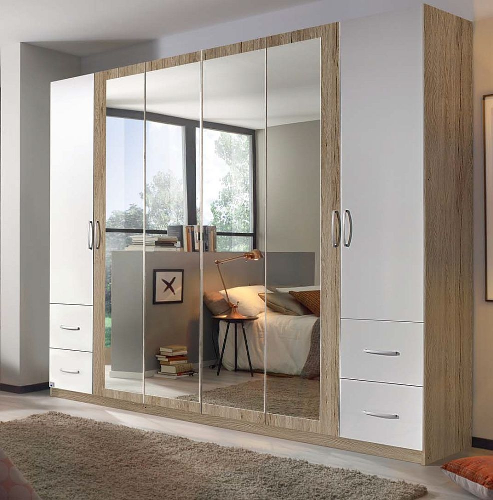 Product photograph showing Rauch Neustadt Extra 6 Door 4 Mirror 4 Drawer Combi Wardrobe In Sonoma Oak And Alpine White With Passepartout - W 275cm
