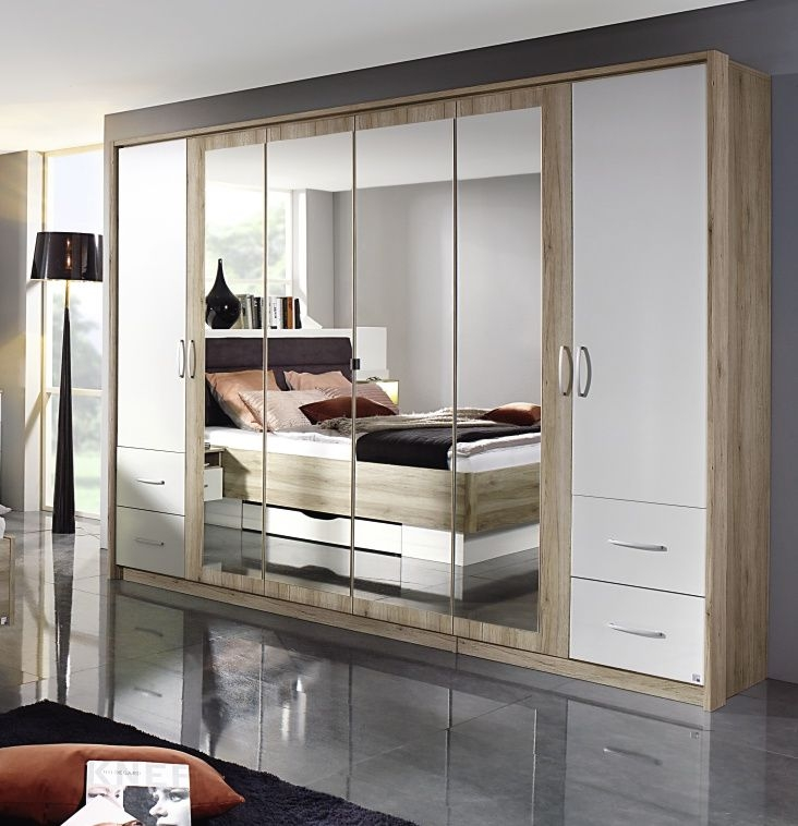 Rauch Neustadt Extra 5 Door 4 Drawer 3 Mirror Combi Wardrobe in Oak and Alpine White with Passepartout - W 231cm