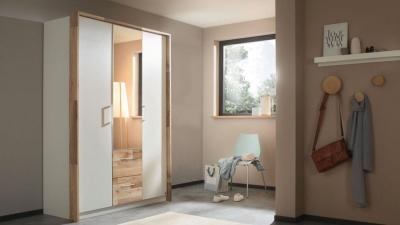 Rauch Pai 3 Door 2 Drawer Combi Wardrobe in Alpine White and Montana Oak - W 136cm