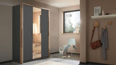 Rauch Pai 3 Door 2 Drawer Combi Wardrobe in Metallic Grey and Montana Oak - W 136cm