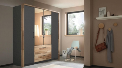 Rauch Pai 4 Door 2 Drawer Combi Wardrobe in Metallic Grey and Montana Oak - W 181cm