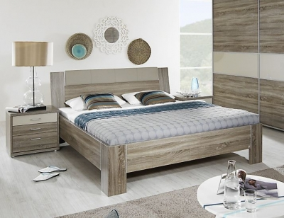Rauch Plus 2 Havana Oak with Sahara Faux Leather Bed with Stake Feet - W 140cm