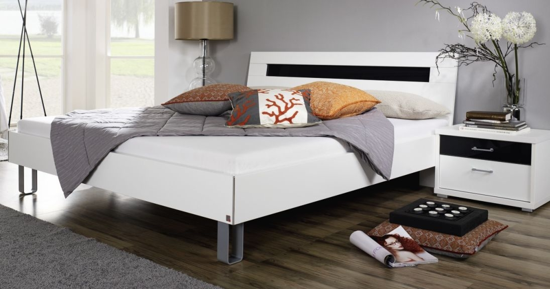 Rauch Plus2 Metal Feet Queen Size Bed in Alpine White and Black Glass - W 180cm