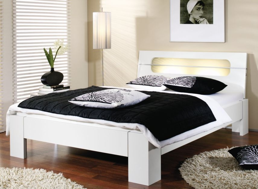 Rauch Plus2 Stake Feet Double Futon Bed in Alpine White and Milk Glass with Lighting - W 140cm
