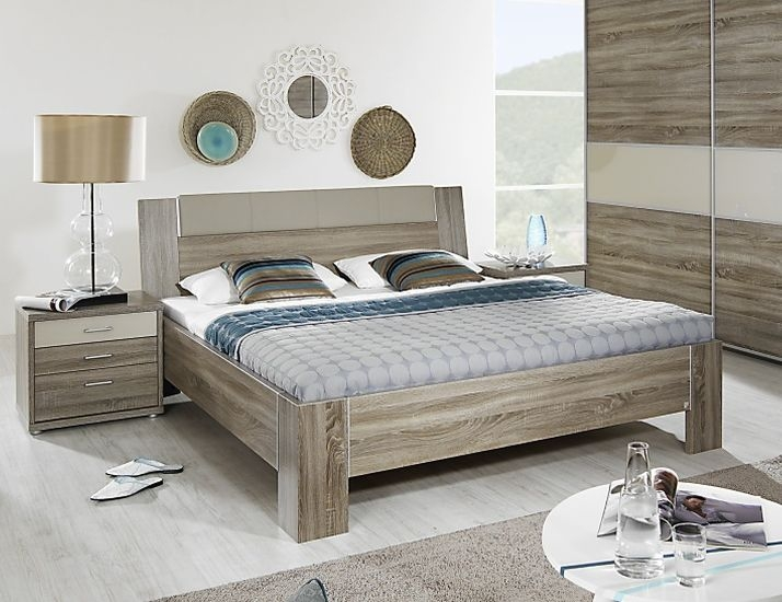 Rauch Plus 2 Havana Oak with Sahara Faux Leather Bed with Stake Feet - W 180cm