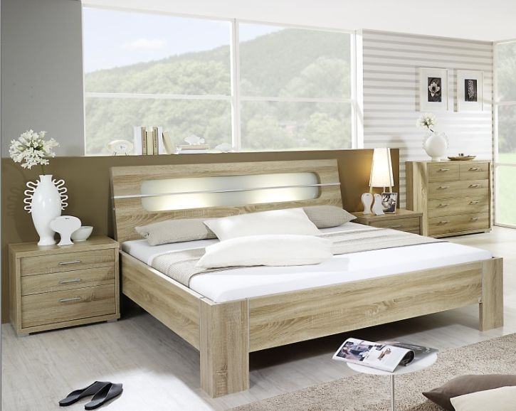 Rauch Plus 2 Sonoma Oak with Milk Glass Bed with Stake Feet and Lighting - W 180cm