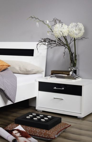 Rauch Plus 2 Alpine White 2 Drawer with Top Black Glass Drawer Bedside Cabinet